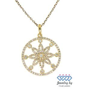 Solid Designer Circle Diamond Pendant
